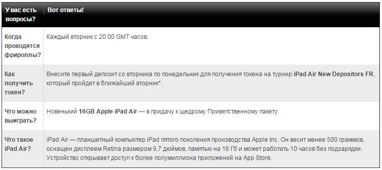iPad Air -  Розыгрыш на Титан Покер