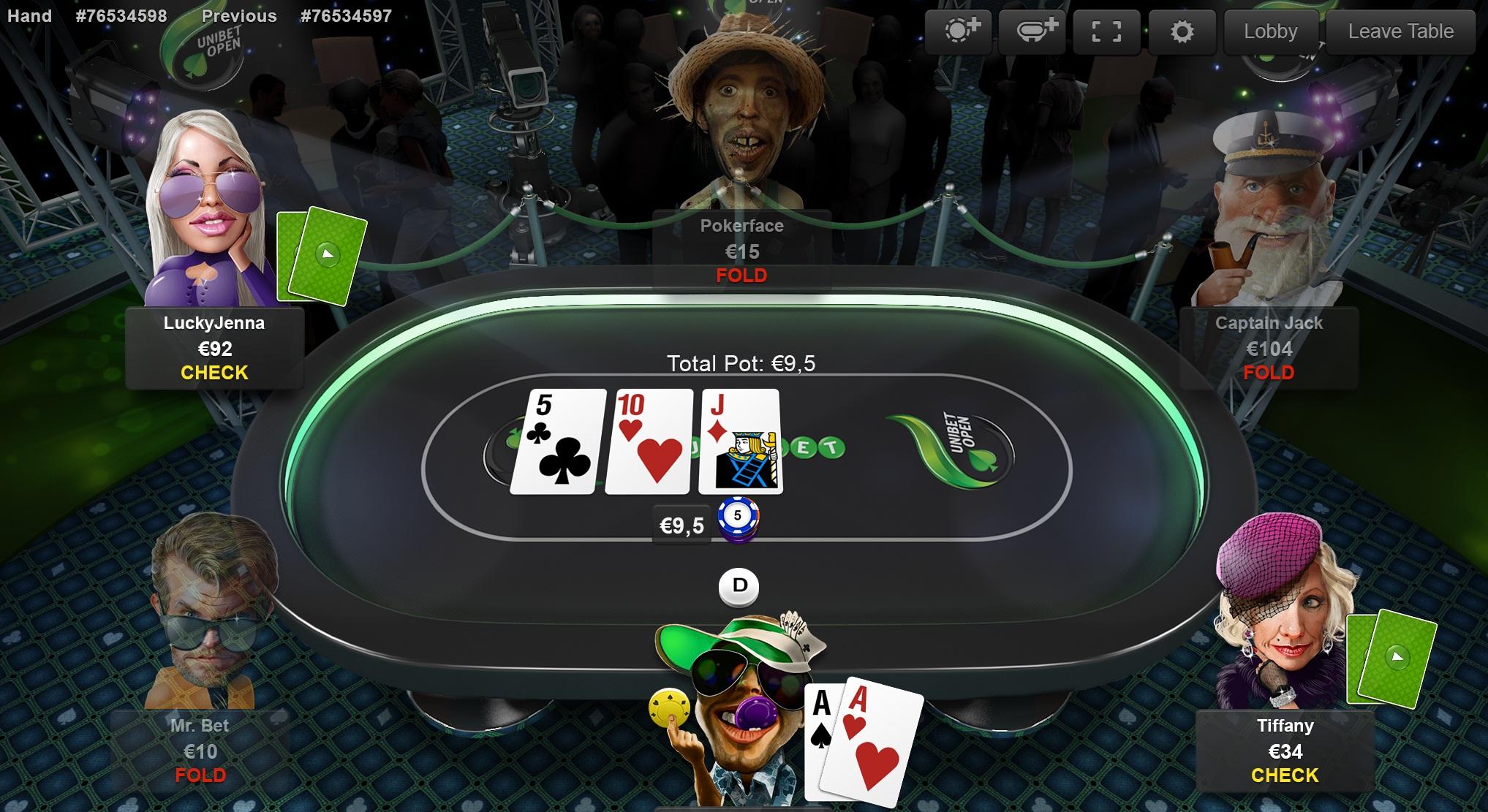 Покер на деньги - Unibet